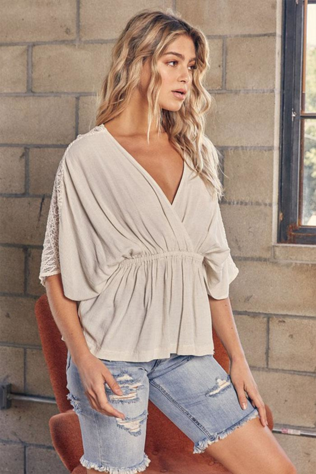 Mustard Seed Lace Kimono Top - Front Cropped Image