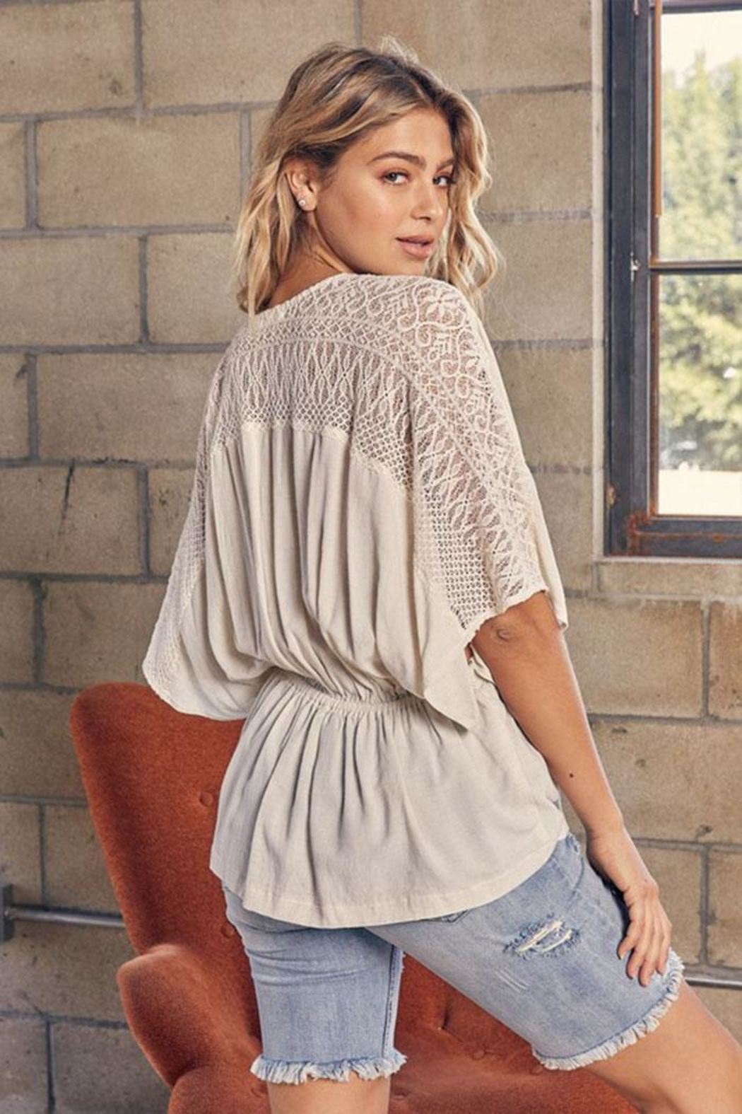 Mustard Seed Lace Kimono Top - Front Full Image