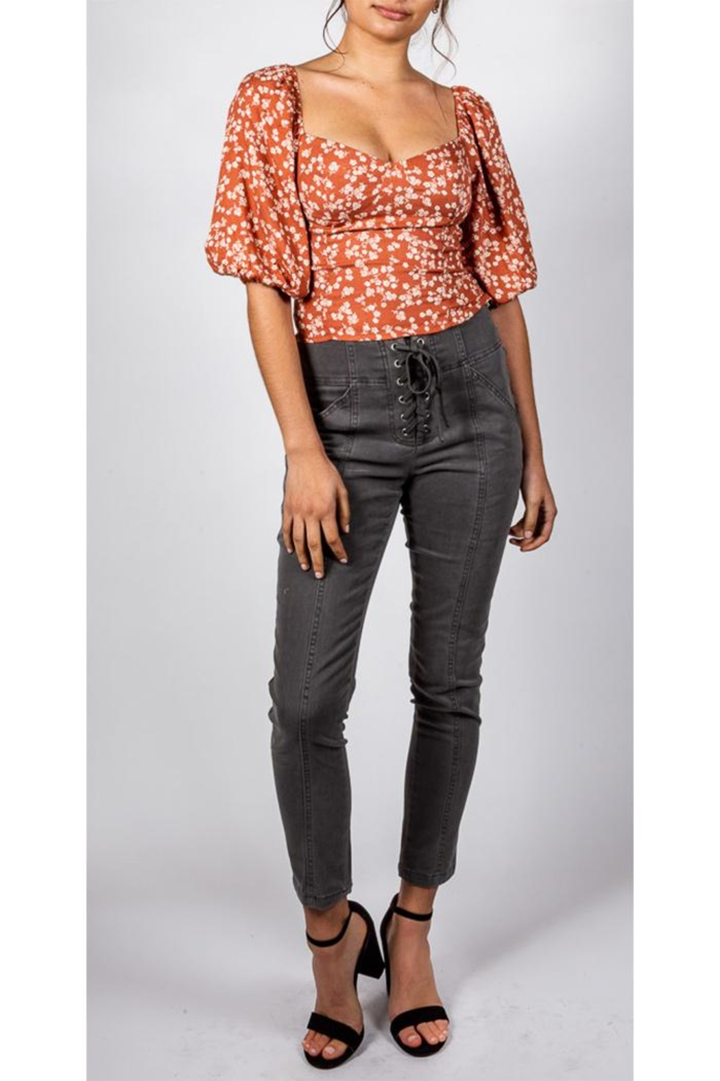 Mustard Seed Lace-Up Skinny Pant - Front Full Image
