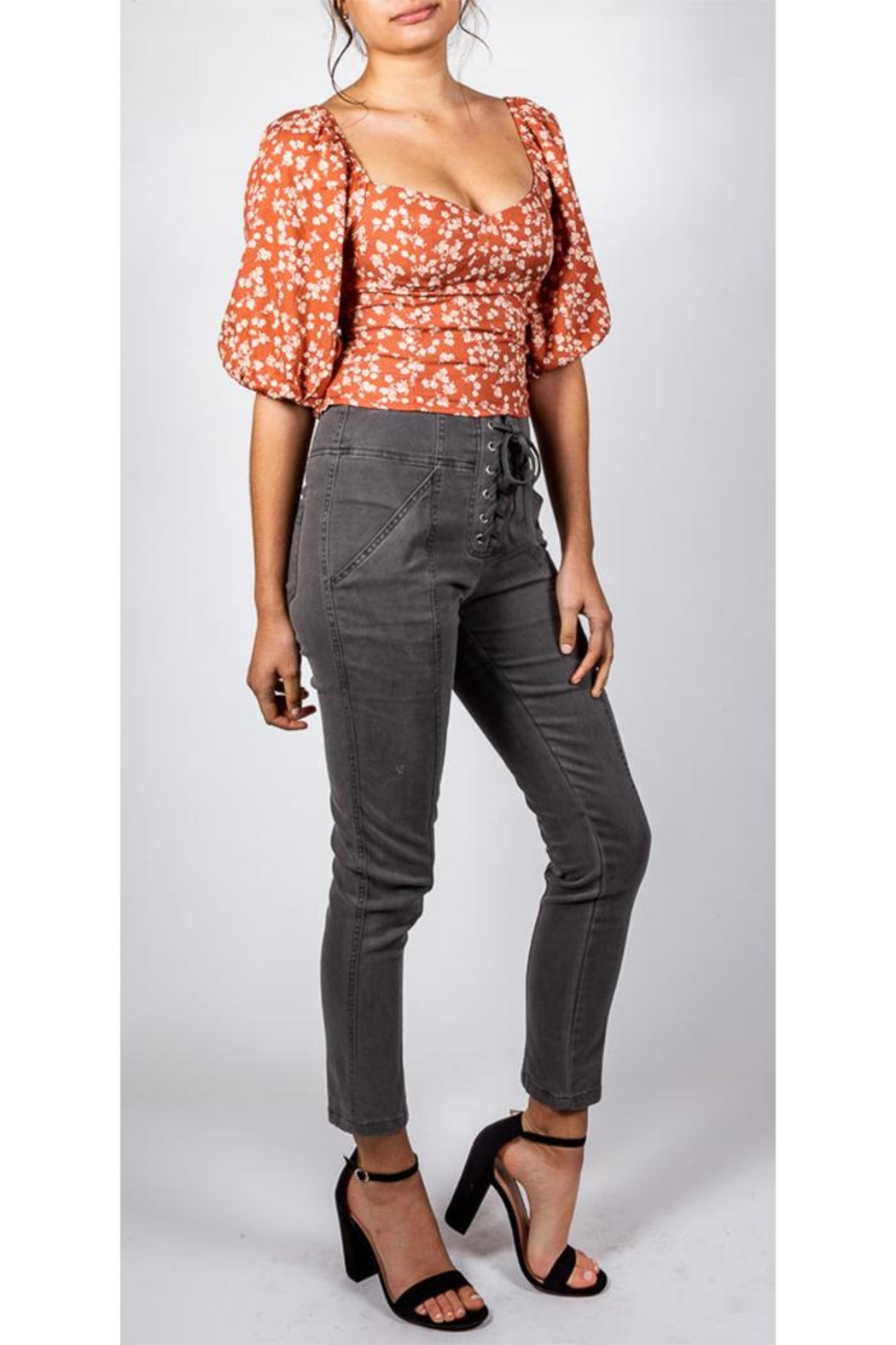 Mustard Seed Lace-Up Skinny Pant - Side Cropped Image