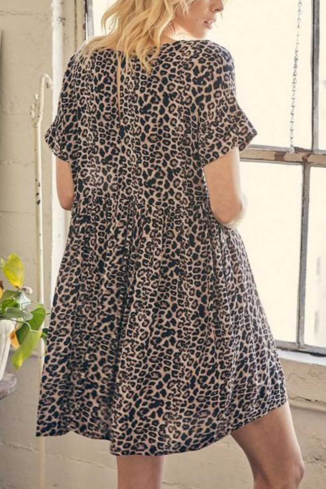 Mustard Seed Leopard Tunic-Dress With-Pockets - Front Full Image