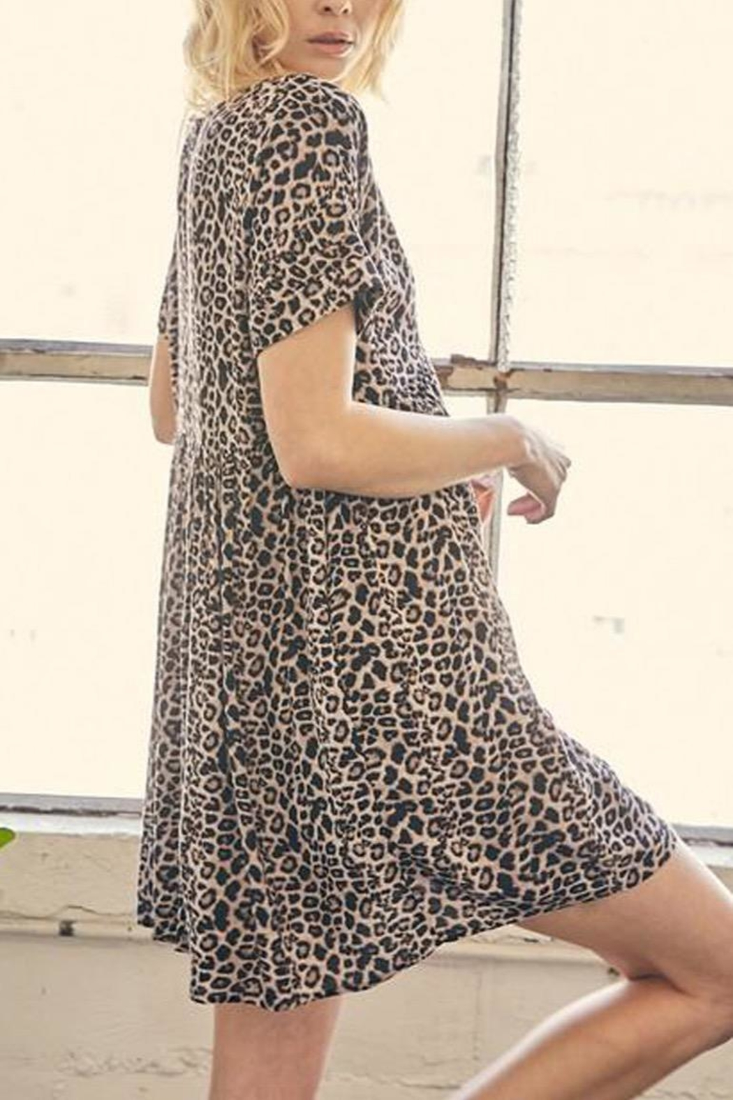 Mustard Seed Leopard Tunic-Dress With-Pockets - Back Cropped Image