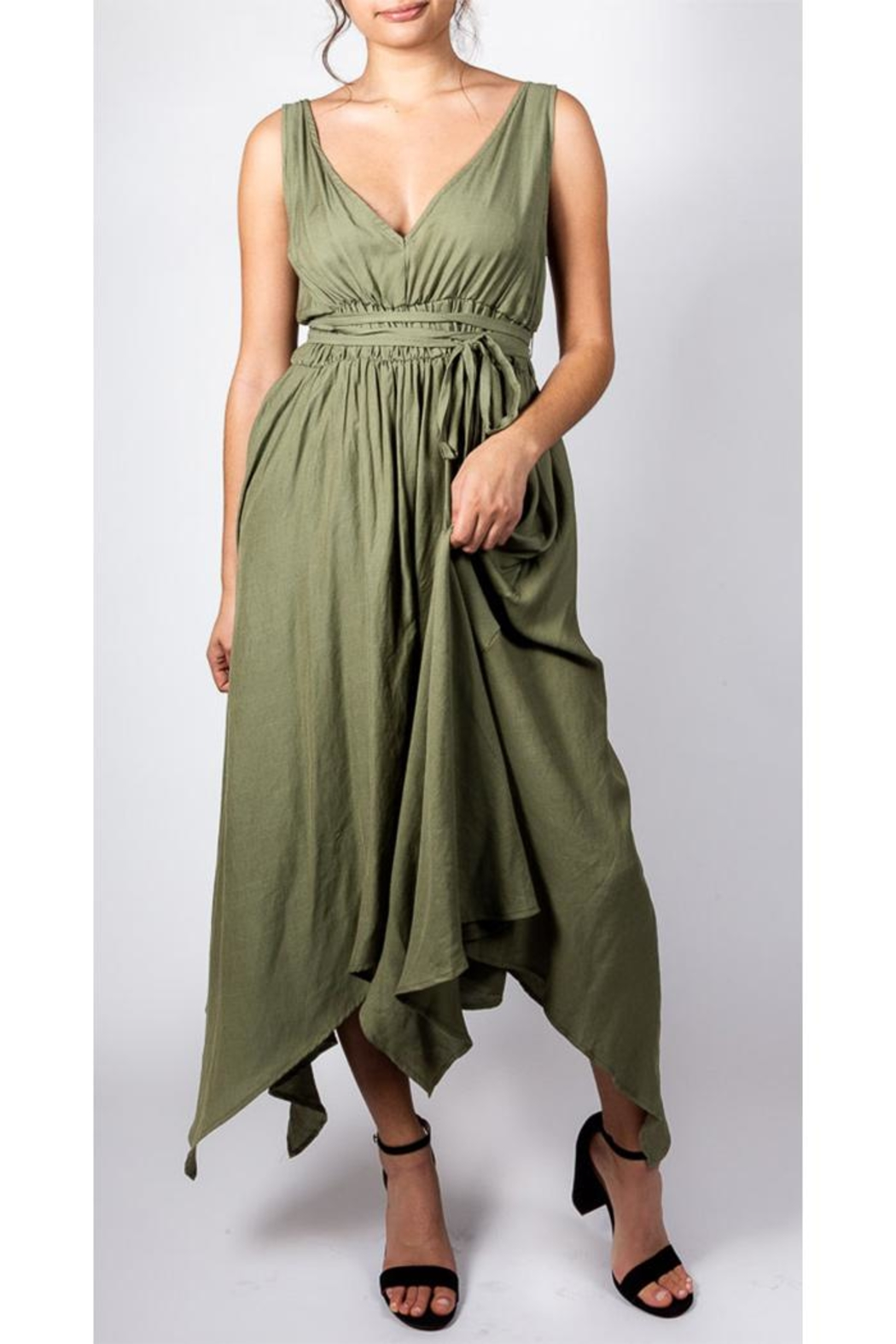 Mustard Seed Linen Sun Dress - Front Cropped Image