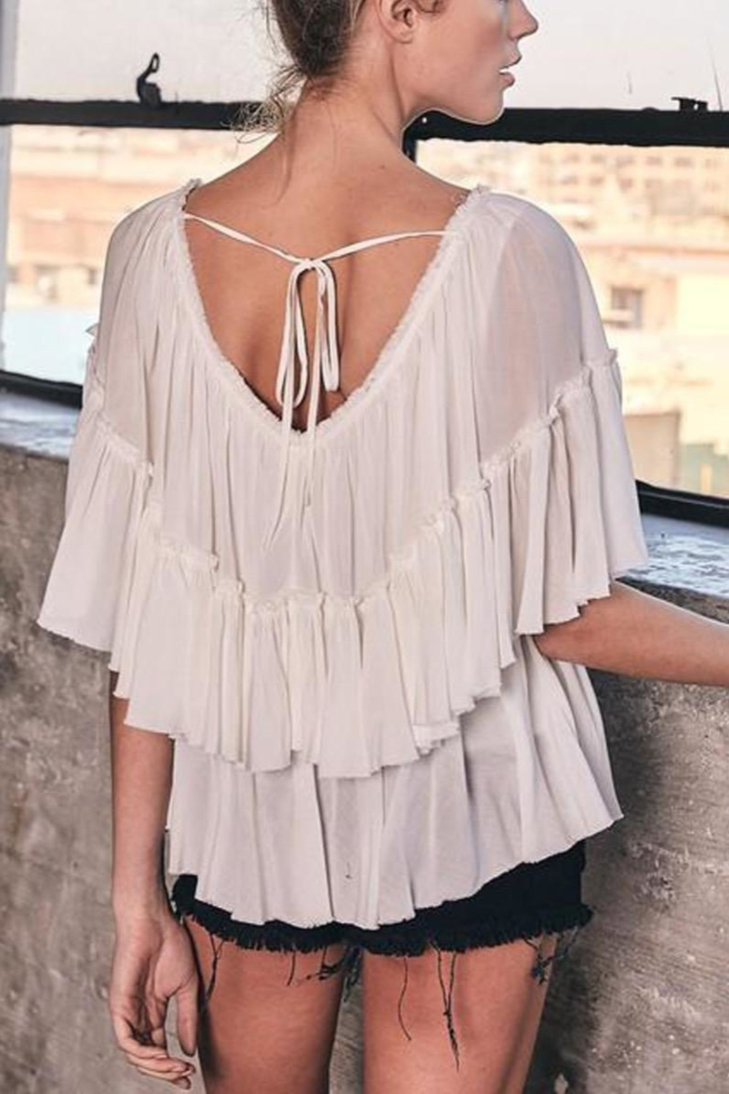 Mustard Seed Off-White Tiered Top - Front Full Image