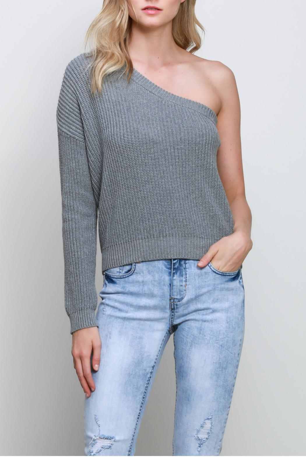 Mustard Seed One Shoulder Sweater - Main Image