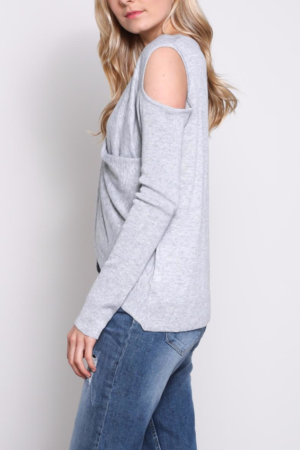 Mustard Seed Cold Shoulder Wrap Top - Side Cropped Image