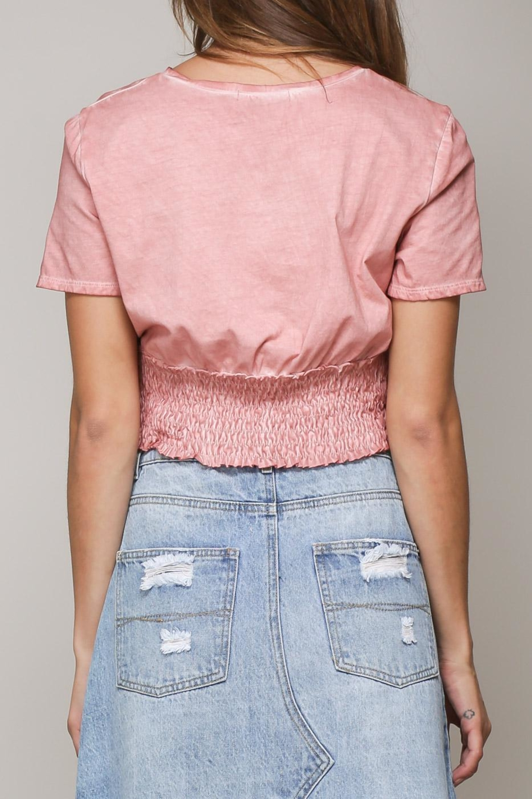 Mustard Seed Pink Shirring Top - Side Cropped Image