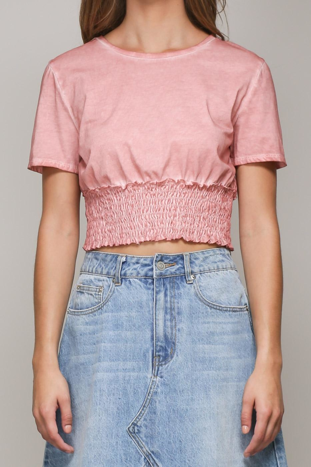 Mustard Seed Pink Shirring Top - Front Cropped Image