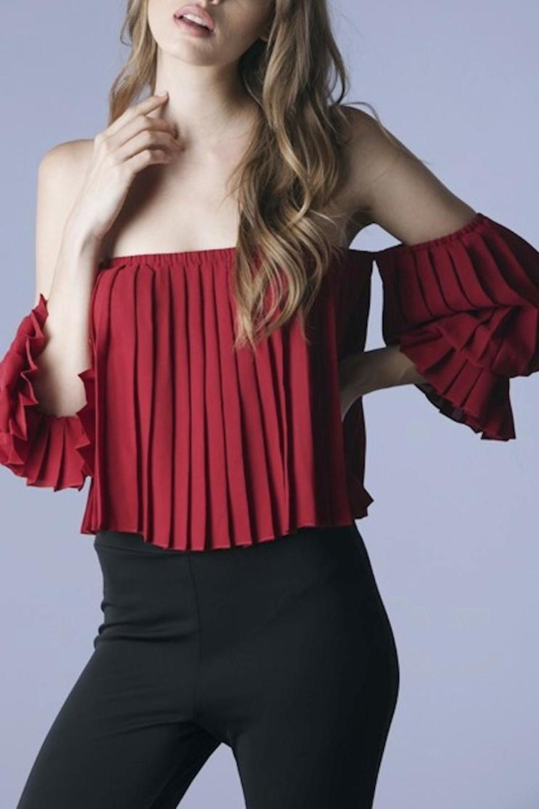 Mustard Seed Pleated Off Shoulder Top - Main Image
