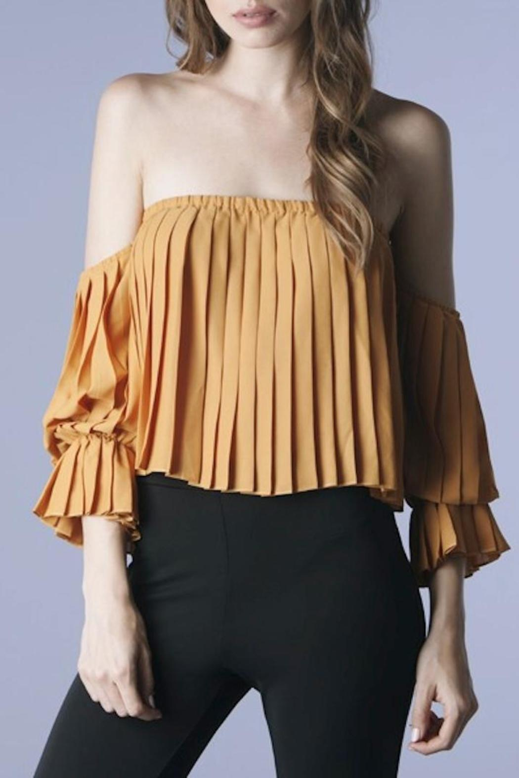 Mustard Seed Pleated Off Shoulder Top - Front Cropped Image