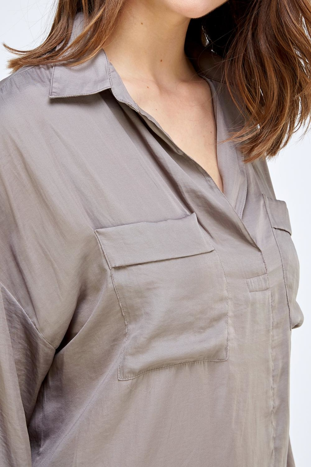 Mustard Seed Pocket Front Blouse - Front Full Image