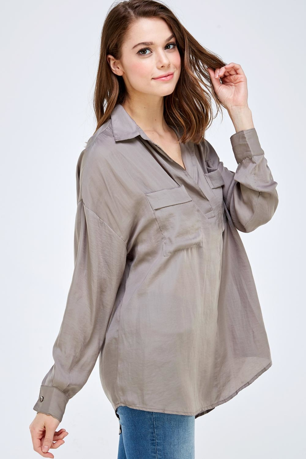 Mustard Seed Pocket Front Blouse - Side Cropped Image