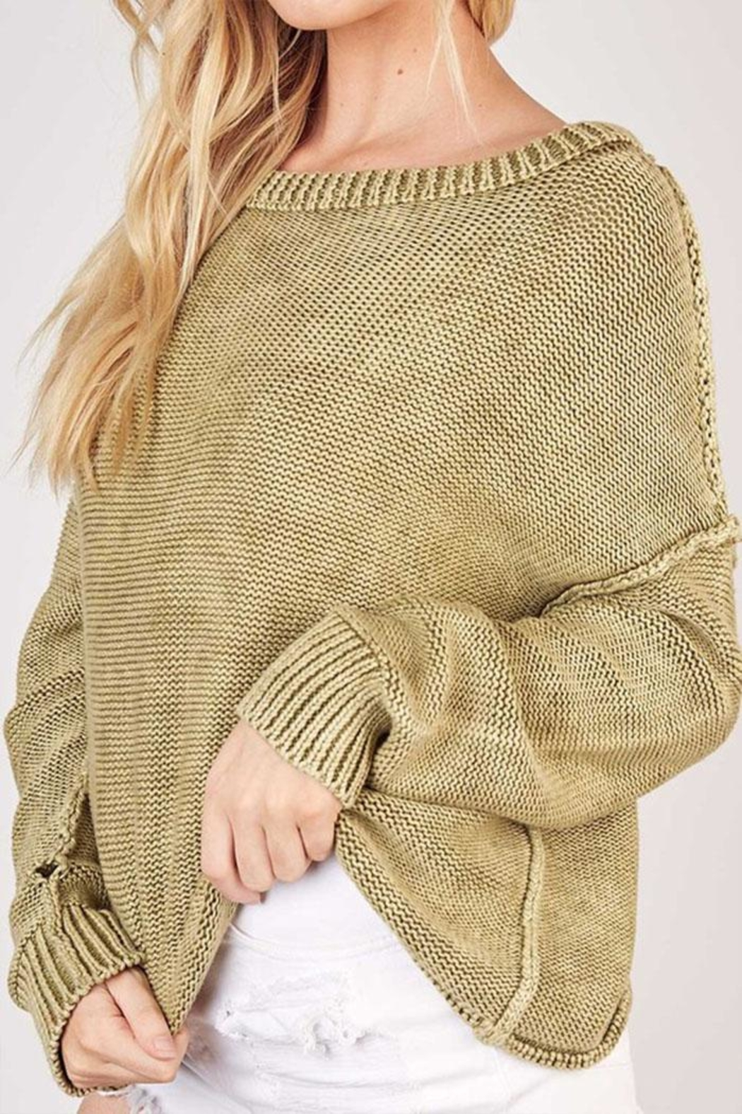 Mustard Seed Ribbed Knit Sweater - Side Cropped Image