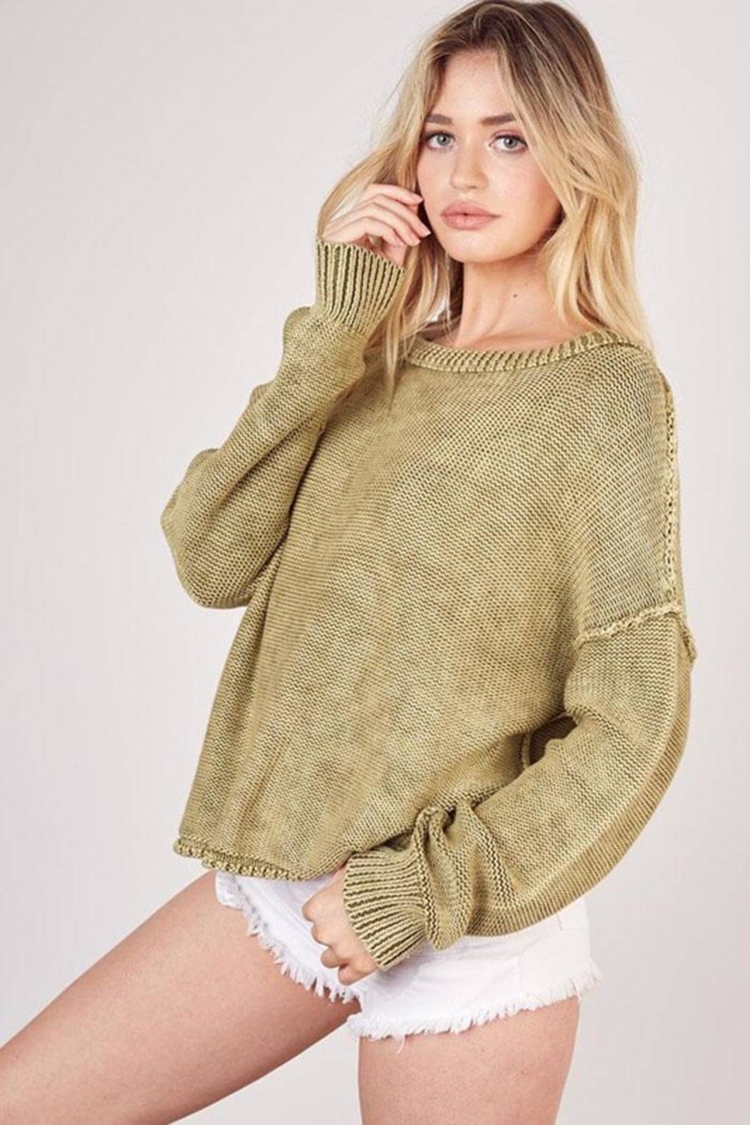 Mustard Seed Ribbed Knit Sweater - Front Full Image