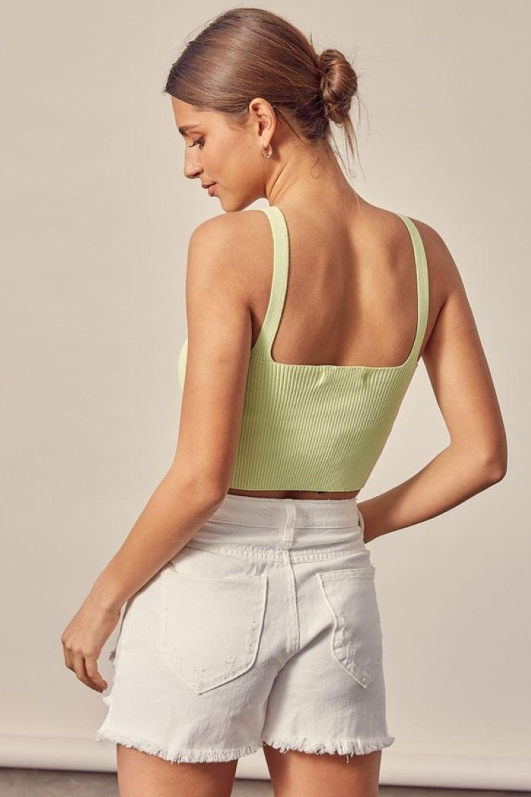 Mustard Seed Ribbed Tank Top - Back Cropped Image