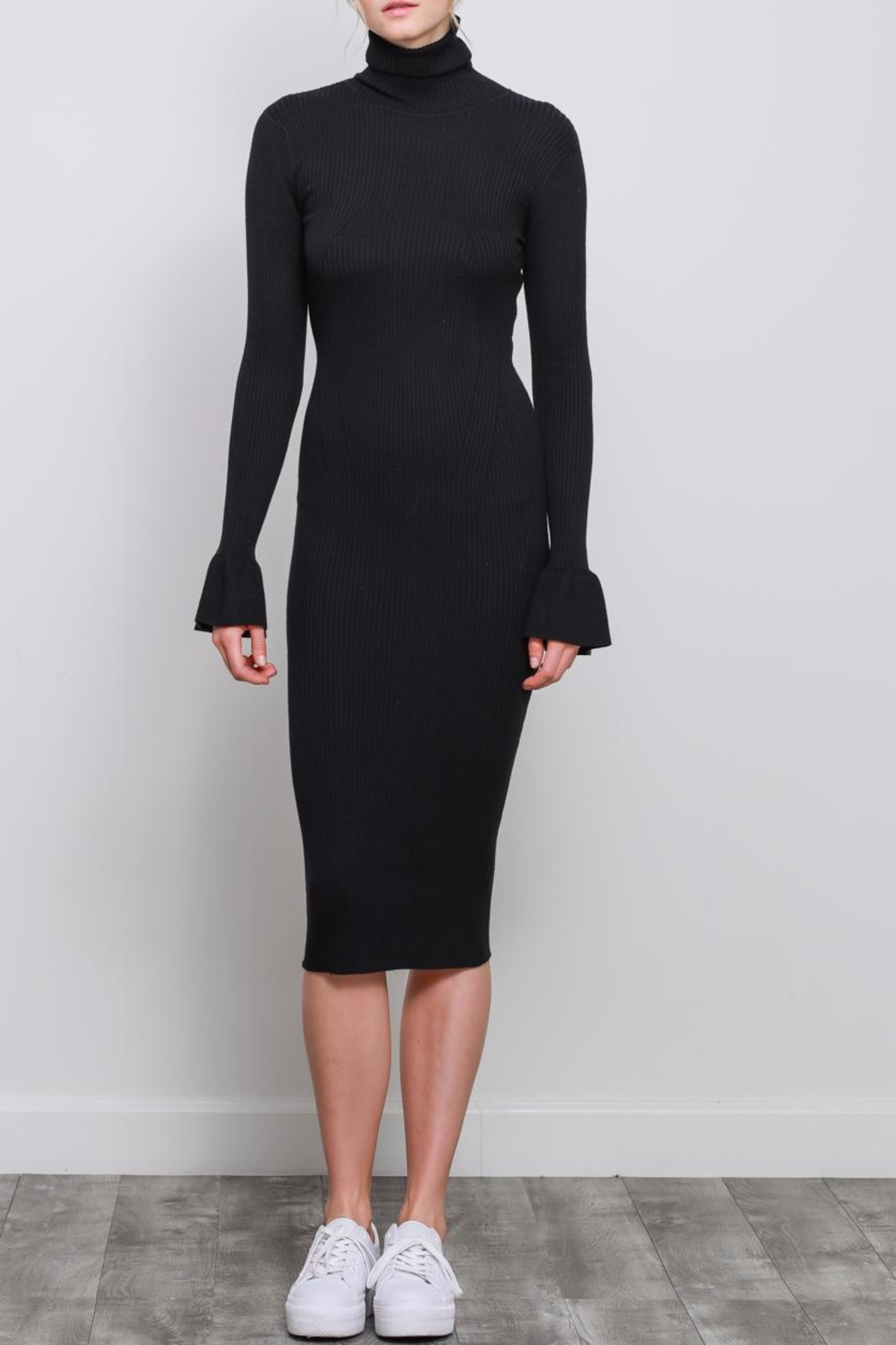 Mustard Seed Ribbed Turtleneck Dress - Main Image