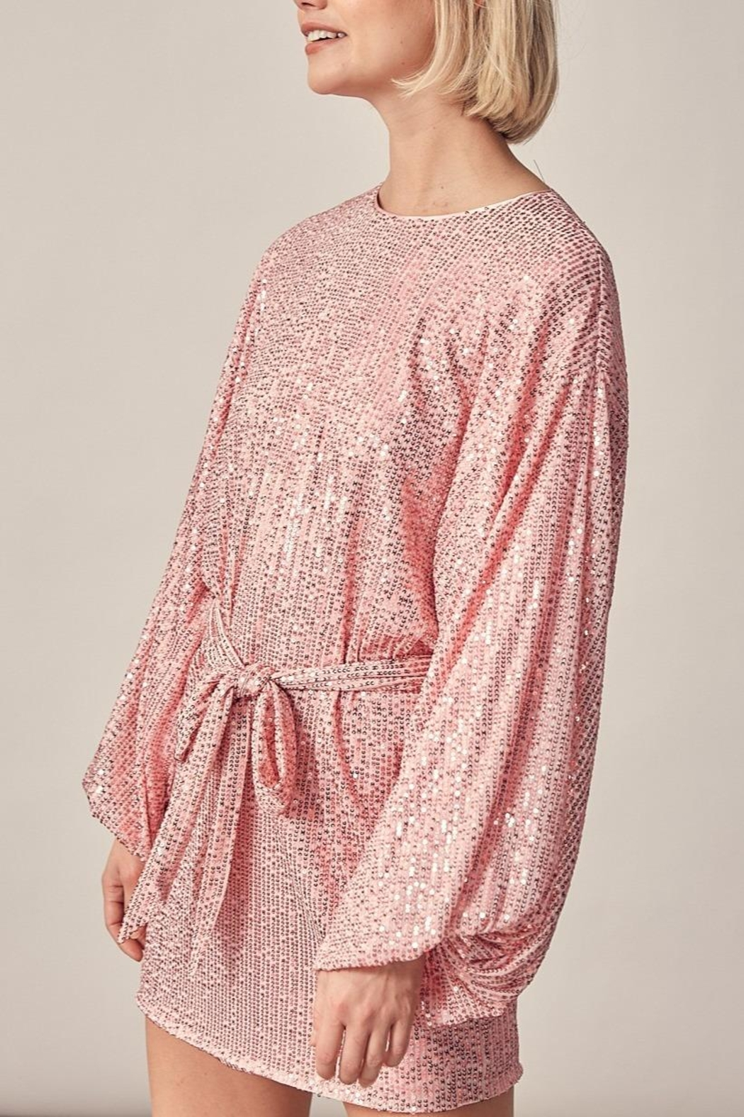 Mustard Seed Sequin Long Sleeve Dress - Front Full Image