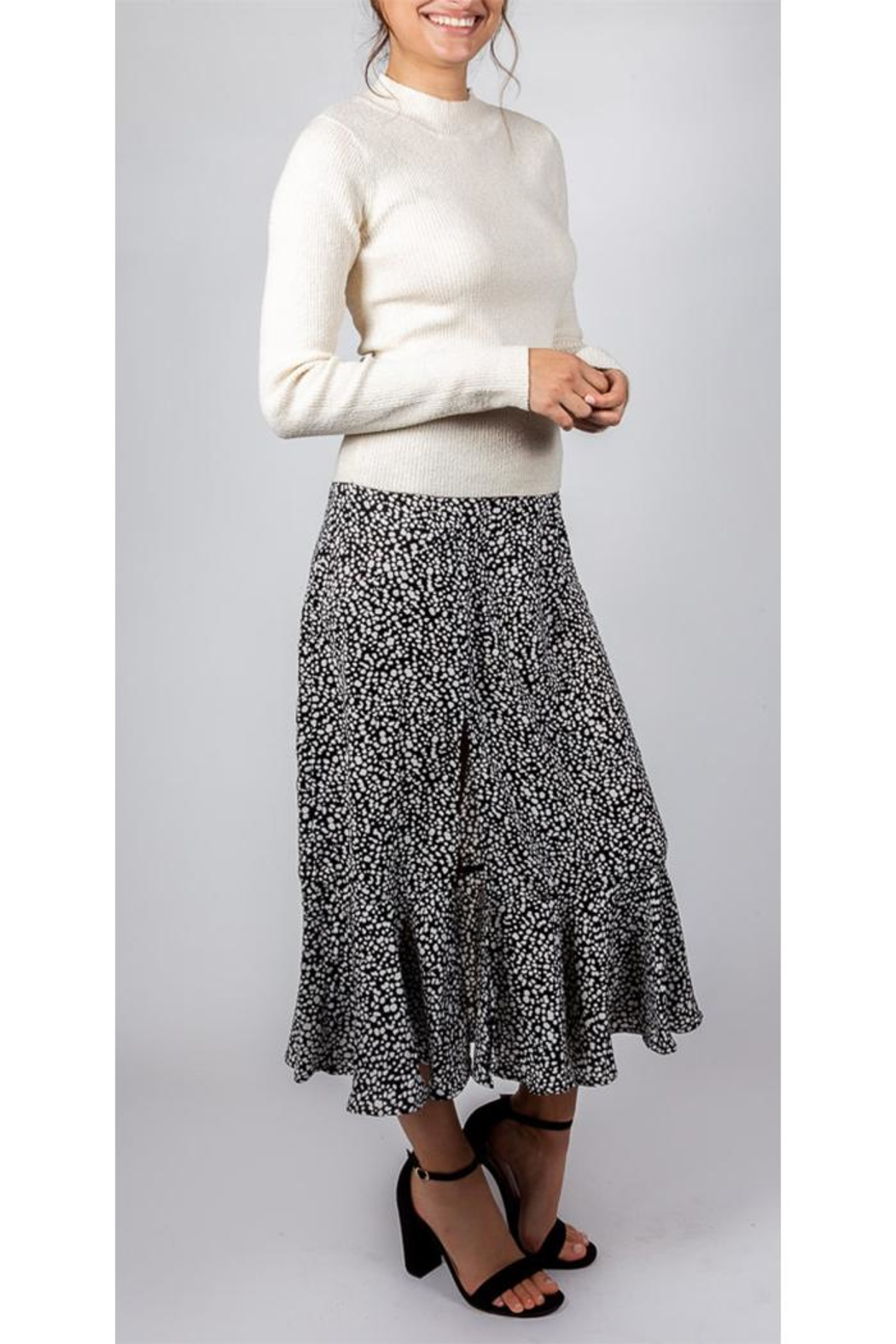 Mustard Seed Spotted Midi Skirt - Back Cropped Image