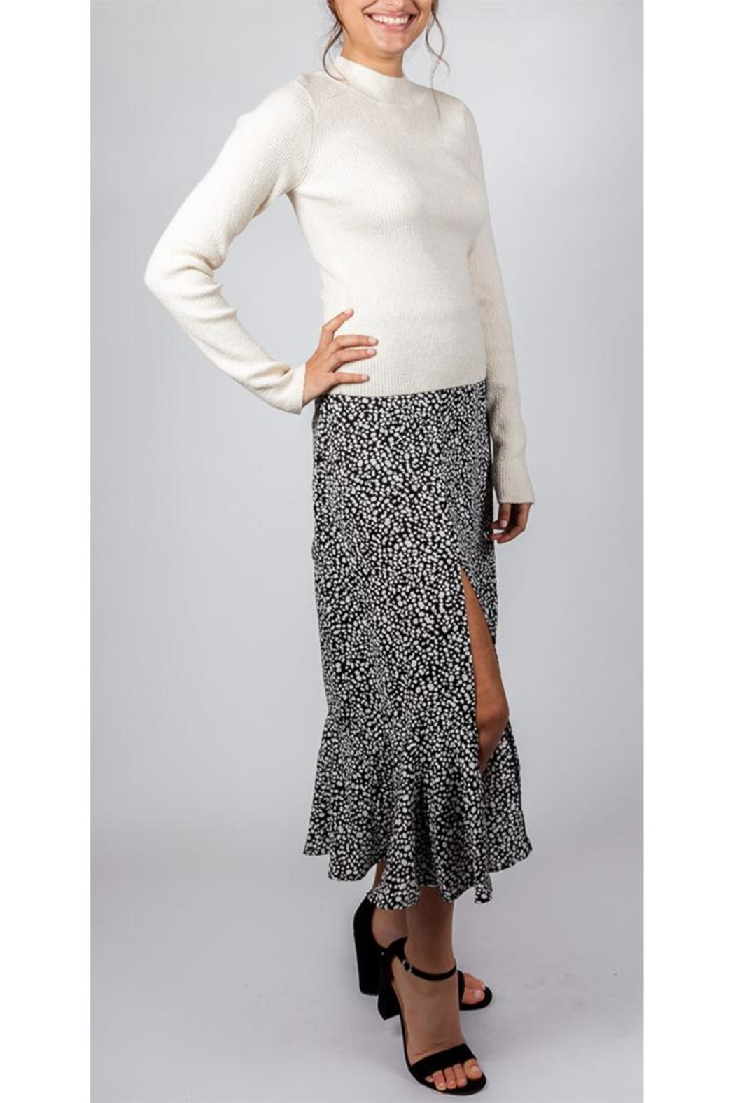 Mustard Seed Spotted Midi Skirt - Front Full Image