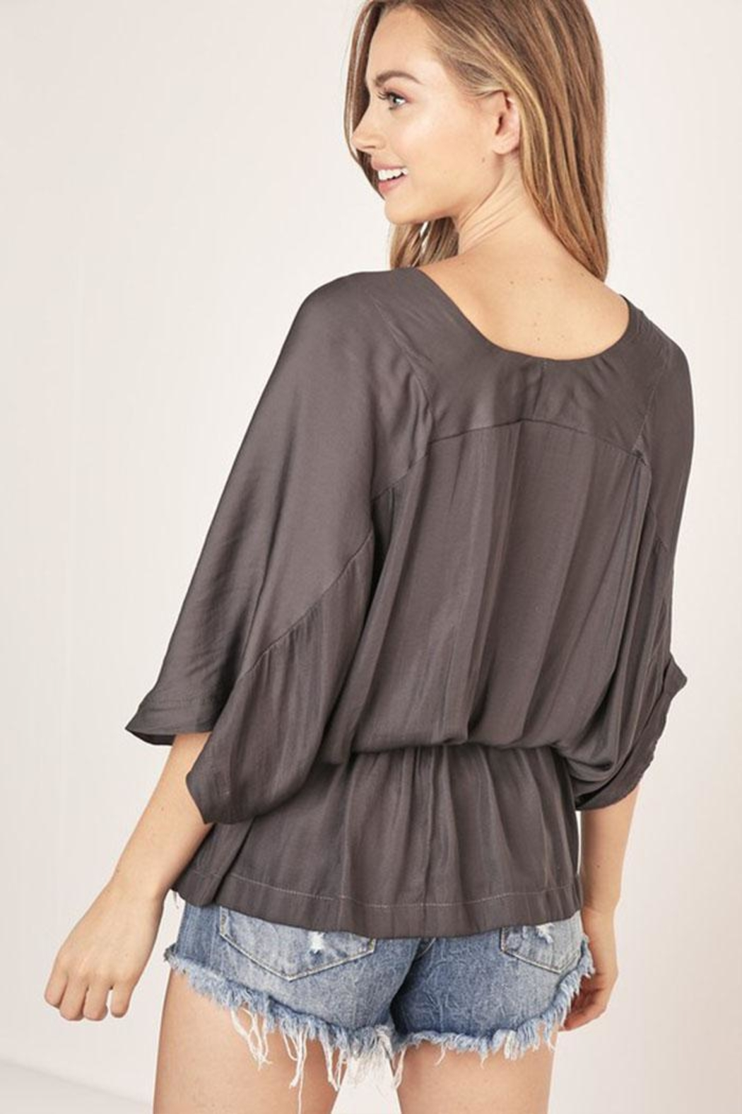 Mustard Seed Surplice V-Neck Top - Back Cropped Image