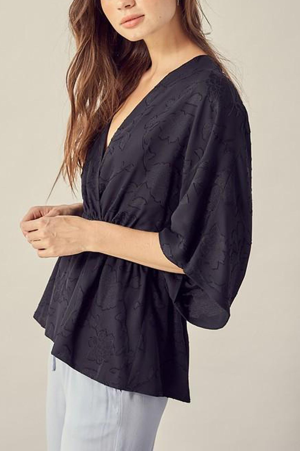 Mustard Seed Textured Floral-Detail Kimono-Top - Front Full Image