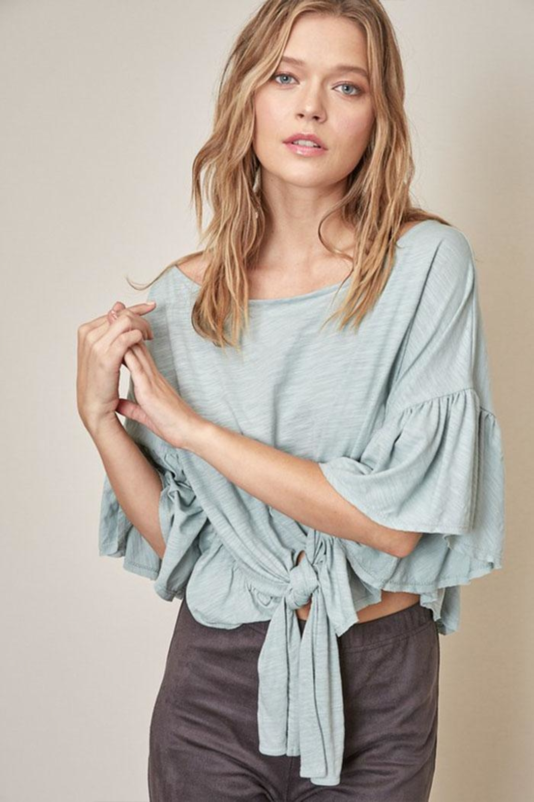 Mustard Seed Tie Bottom Blouse - Front Cropped Image
