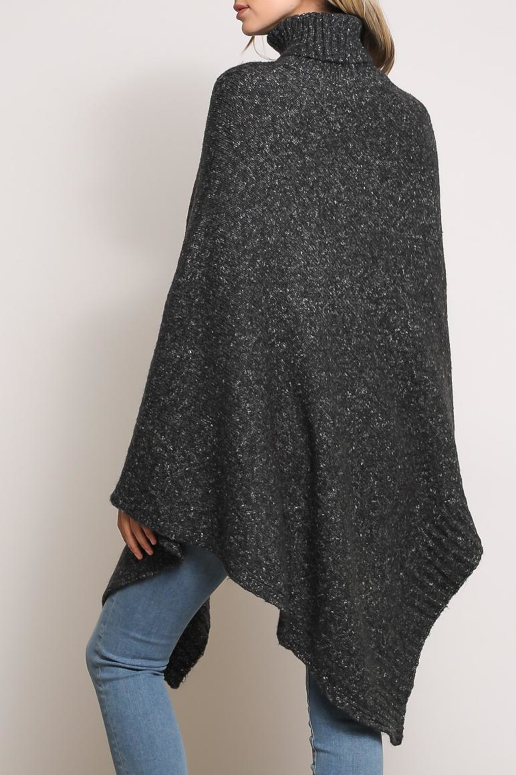 Mustard Seed Turtleneck Poncho Sweater - Side Cropped Image