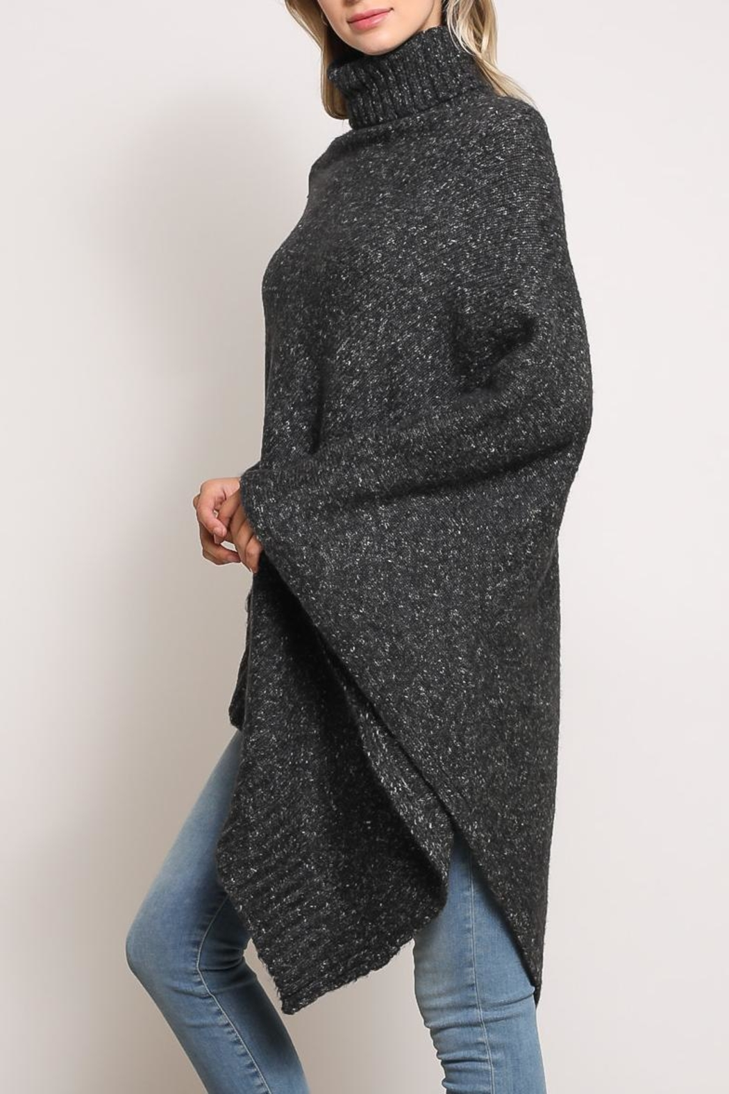 Mustard Seed Turtleneck Poncho Sweater - Front Full Image