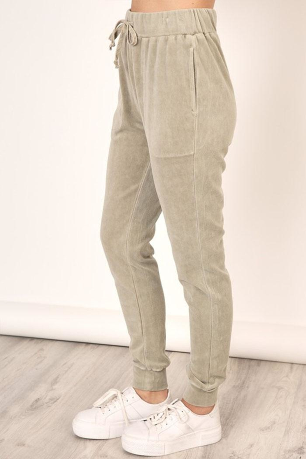 Mustard Seed Washed Velour Sweatpants - Front Full Image