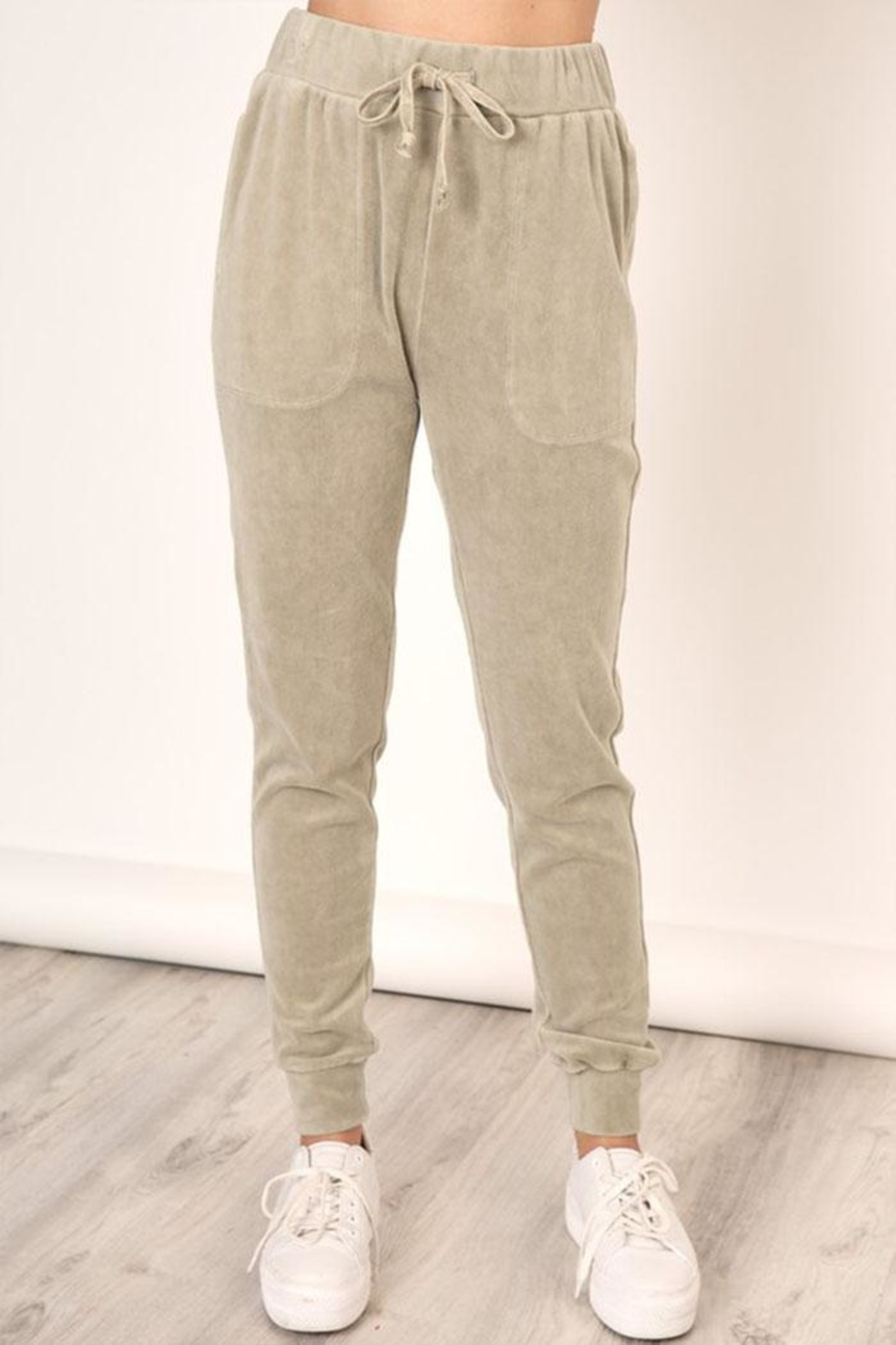 Mustard Seed Washed Velour Sweatpants - Front Cropped Image
