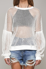 Mustard Seed White Net Top - Front cropped