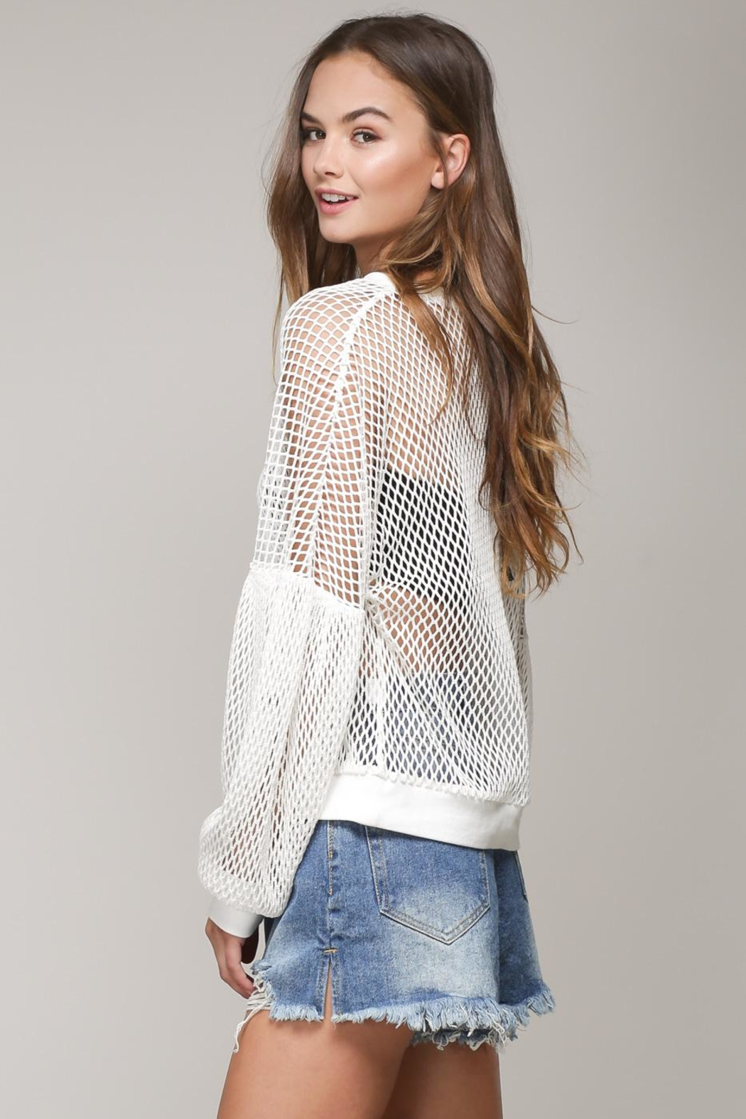 Mustard Seed White Net Top - Front Full Image