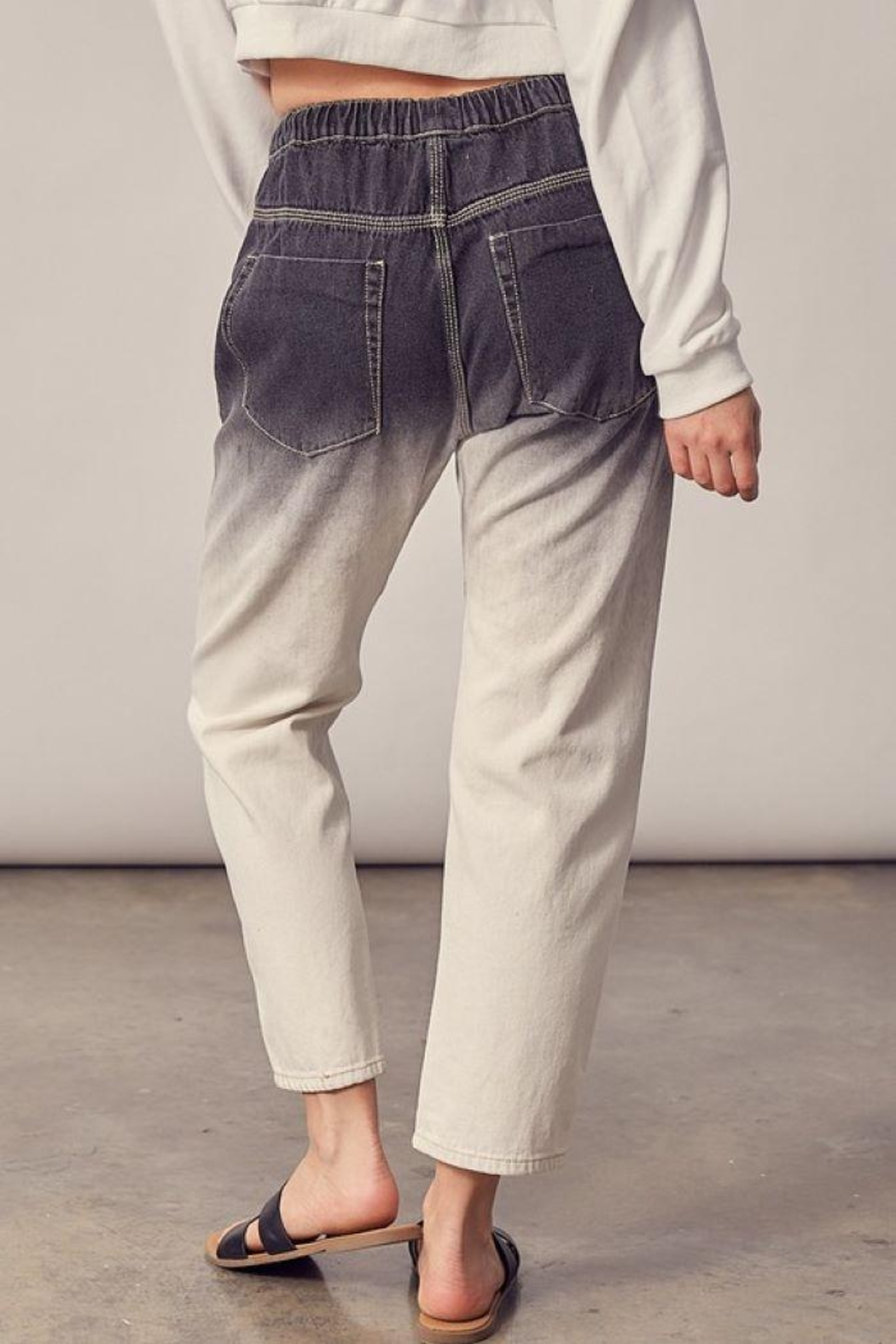 Mustard Seed Woven Ombre Cropped Jeans - Side Cropped Image