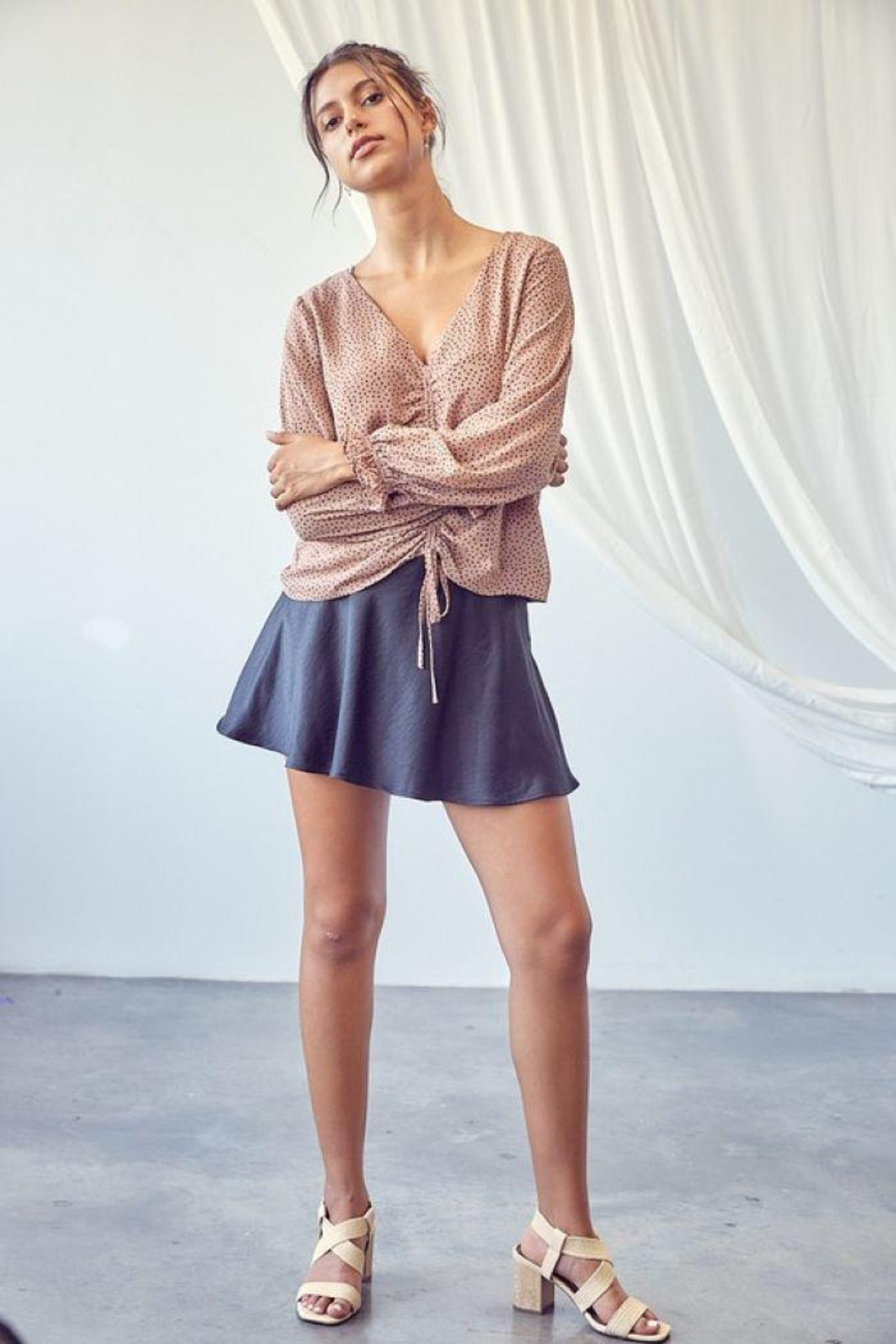 Mustard Seed Woven Satin Mini Skort - Front Cropped Image
