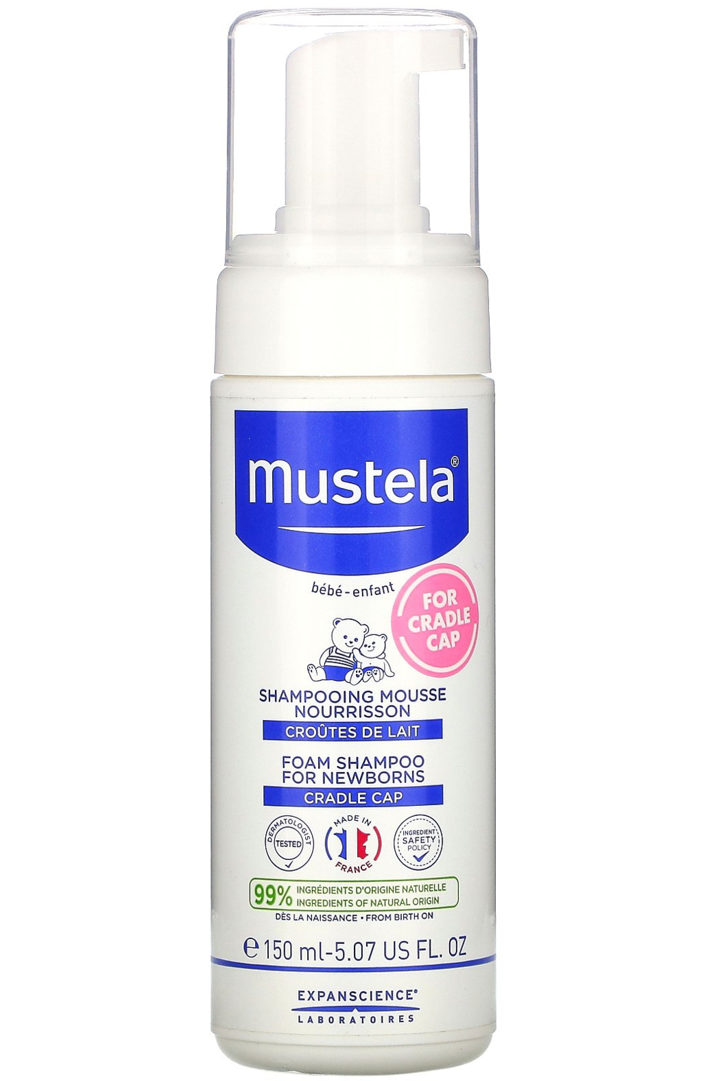 Mustela Baby Foam Shampoo for Newborns 5.07 fl oz - Front Cropped Image