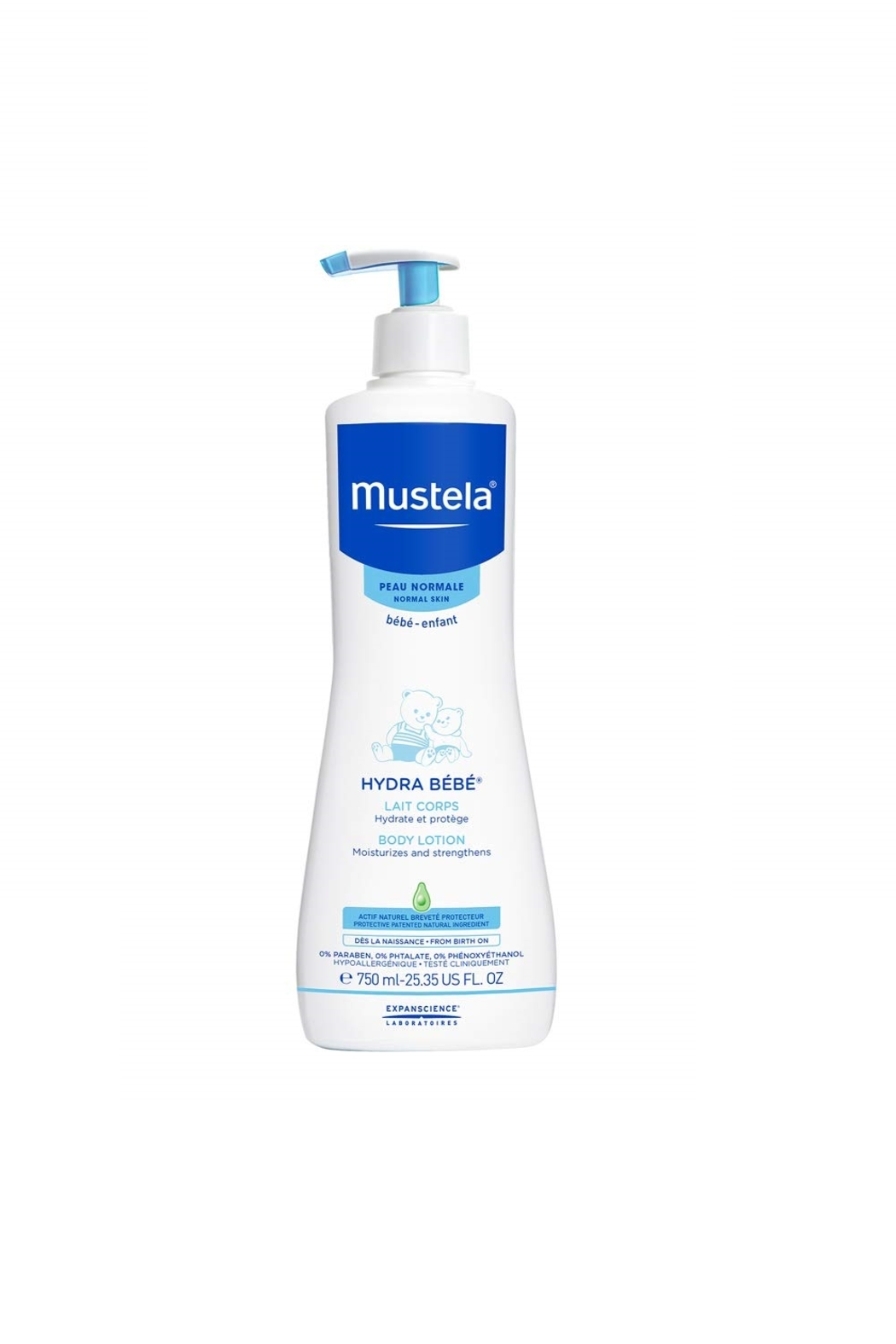Mustela Hydra Bebe Body Lotion, Daily Moisturizing Baby Lotion For Normal Skin 25.35 Oz - Main Image