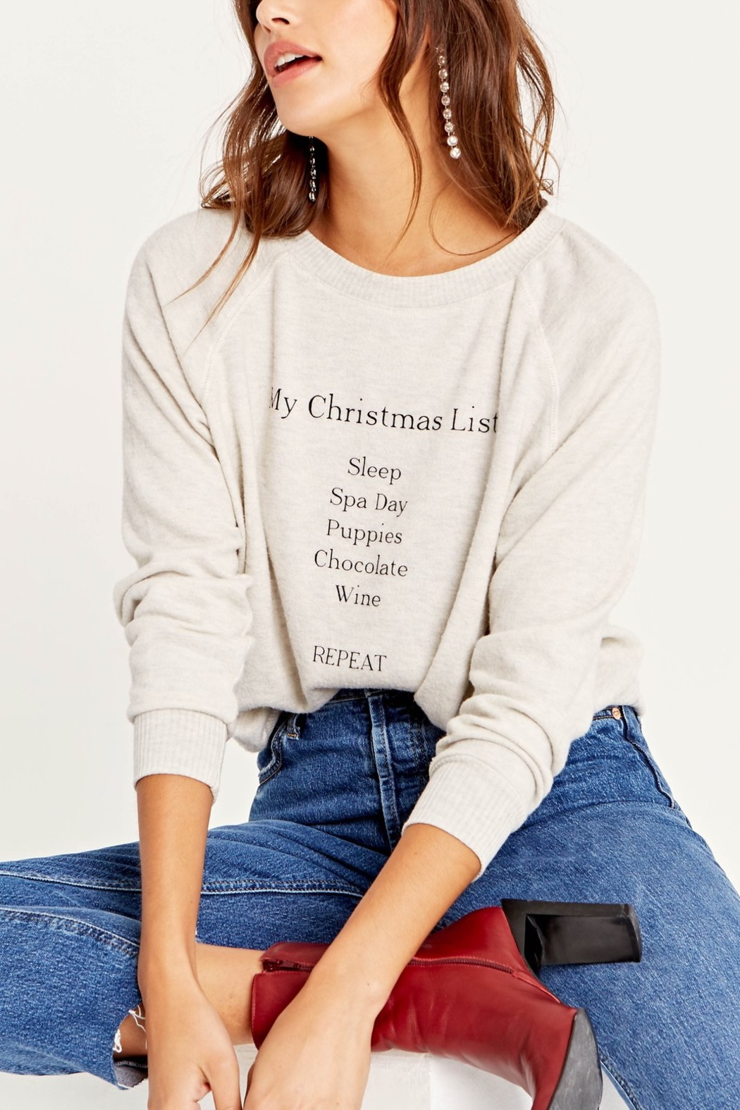 Project Social T My Christmas List Cozy Pullover - Front Cropped Image