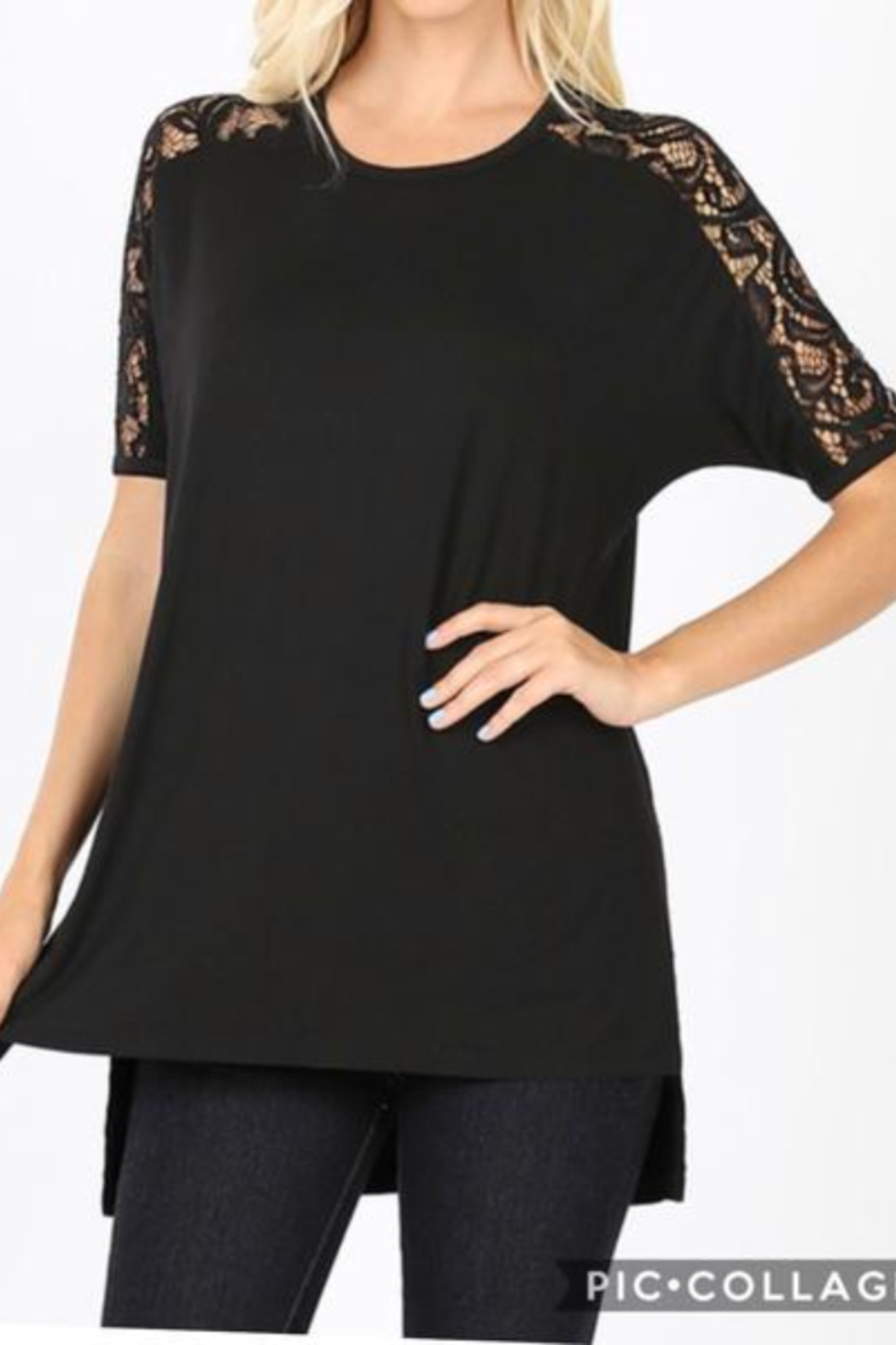 Kindred Mercantile My Fav T Lace Slv Black Curvy - Main Image