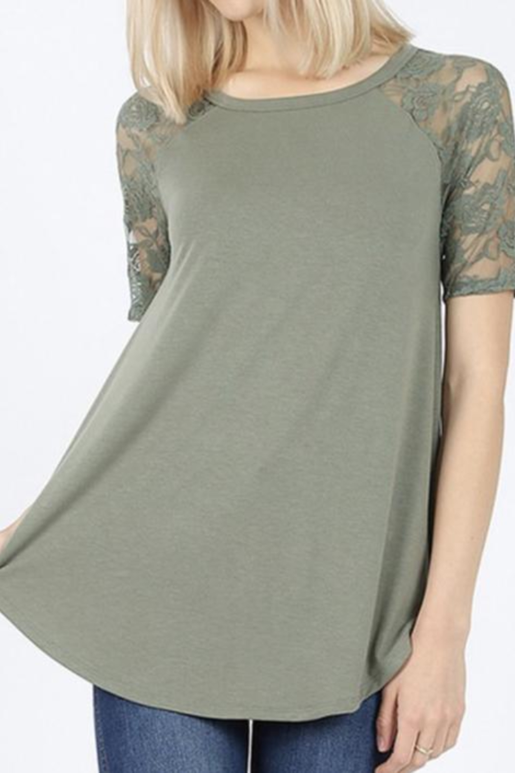 Kindred Mercantile My Fav T Lace Slv Olive Curvy - Main Image