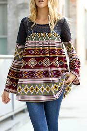 My Story Burgundy Aztec Top - Product Mini Image