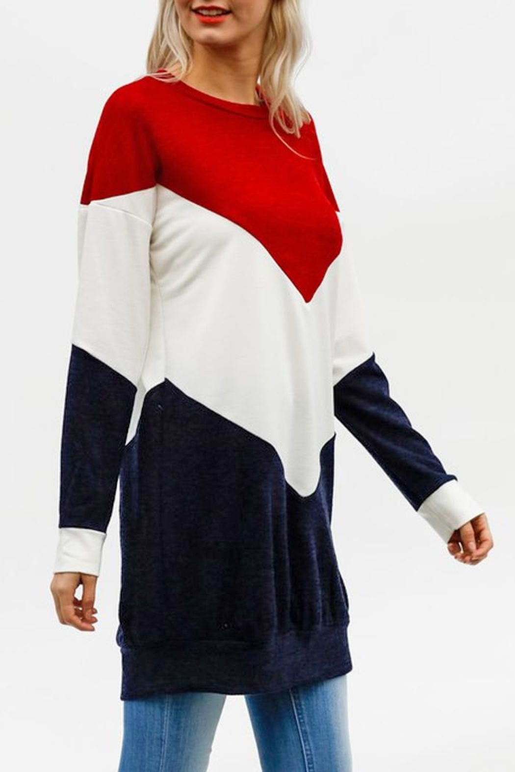 My Story Colorblock Chevron Sweatshirt - Front Full Image