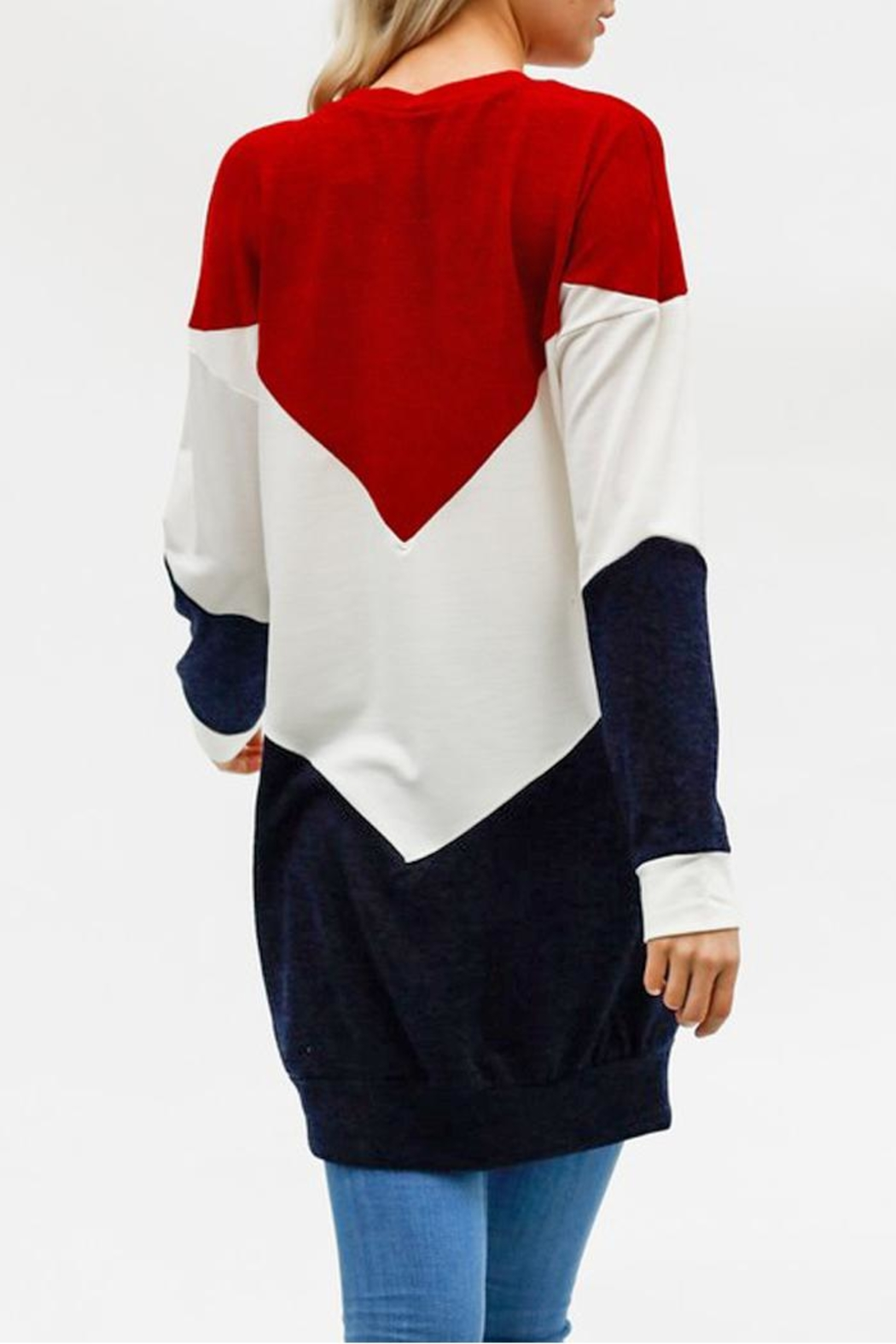 My Story Colorblock Chevron Sweatshirt - Back Cropped Image