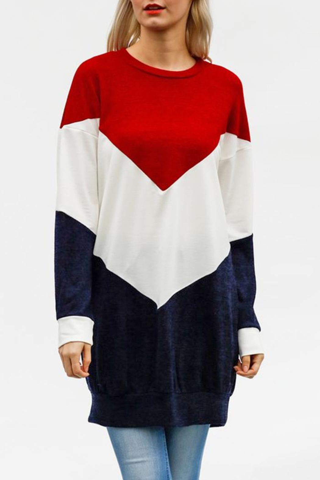 My Story Colorblock Chevron Sweatshirt - Main Image