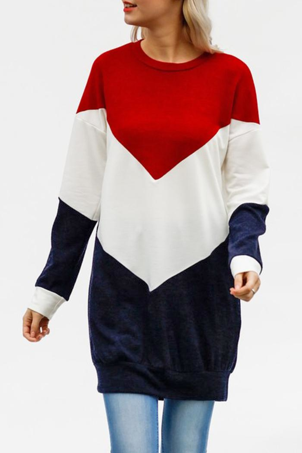 My Story Colorblock Chevron Sweatshirt - Side Cropped Image