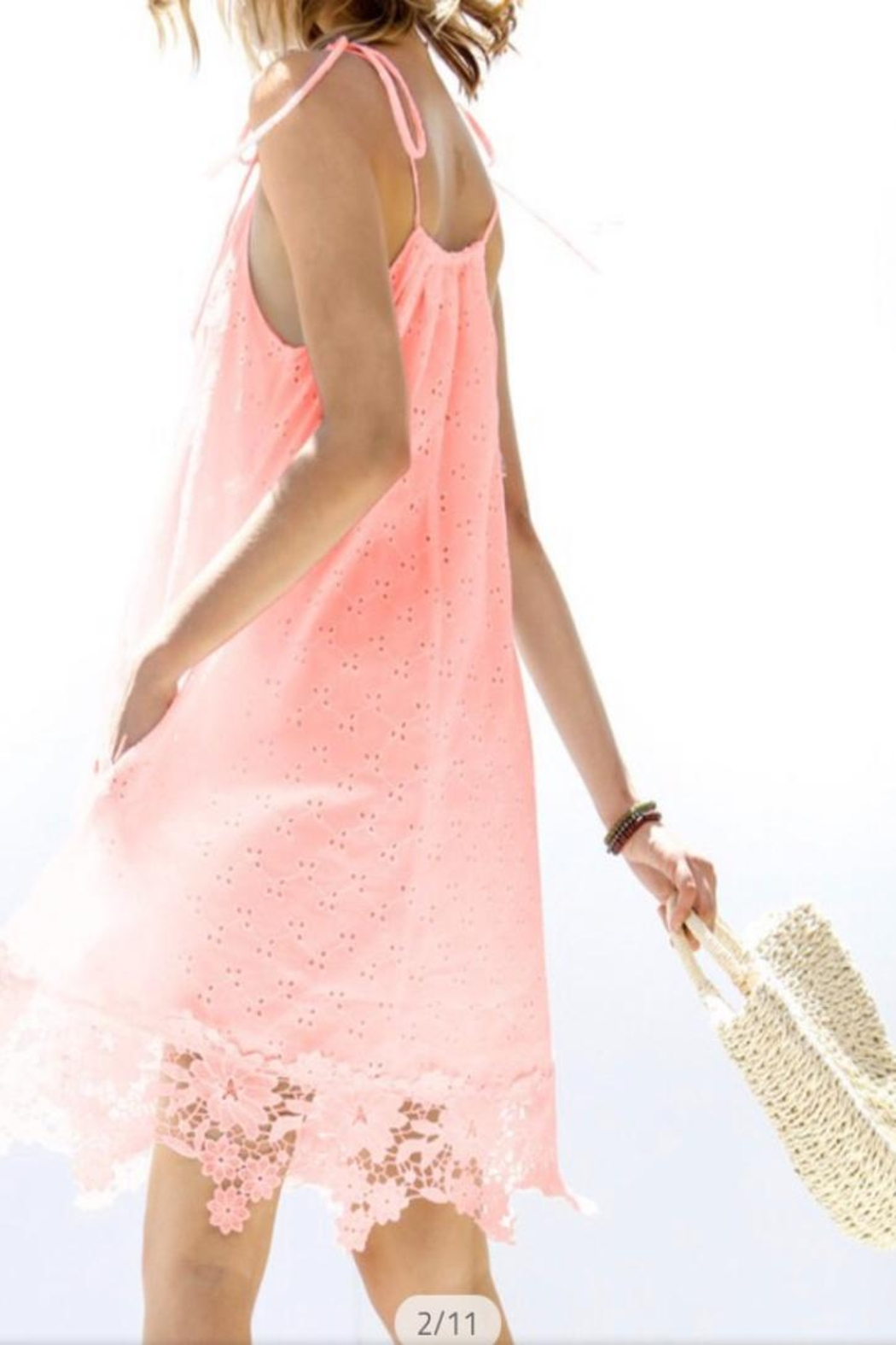 My Story Floral Eyelet Dress - Front Full Image