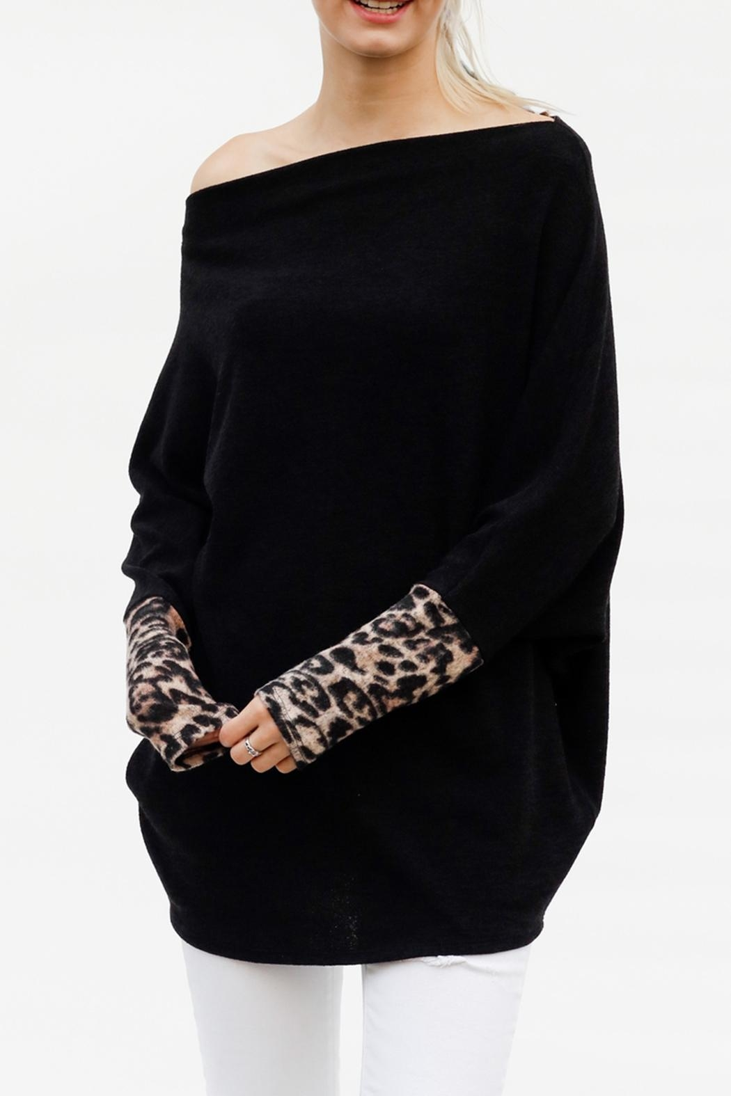 My Story Leopard Sleeve Sweater - Side Cropped Image