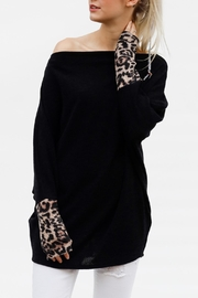 My Story Leopard Sleeve Sweater - Product Mini Image