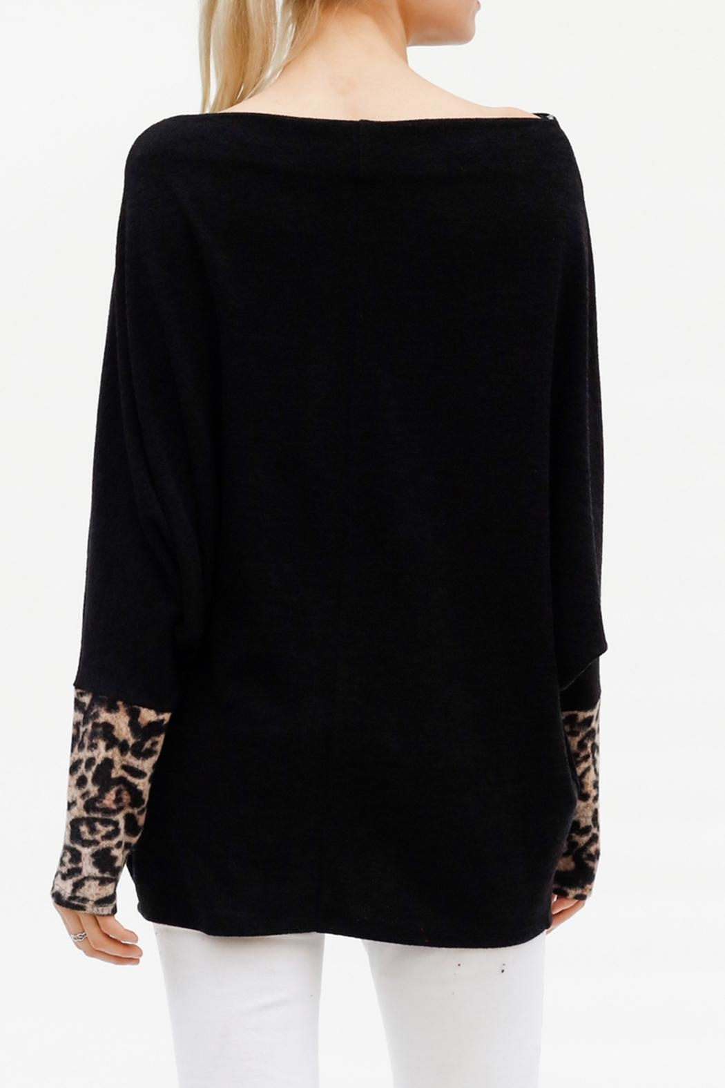 My Story Leopard Sleeve Sweater - Front Full Image