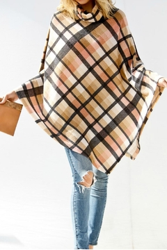 My Story Mockneck Plaid Poncho - Alternate List Image