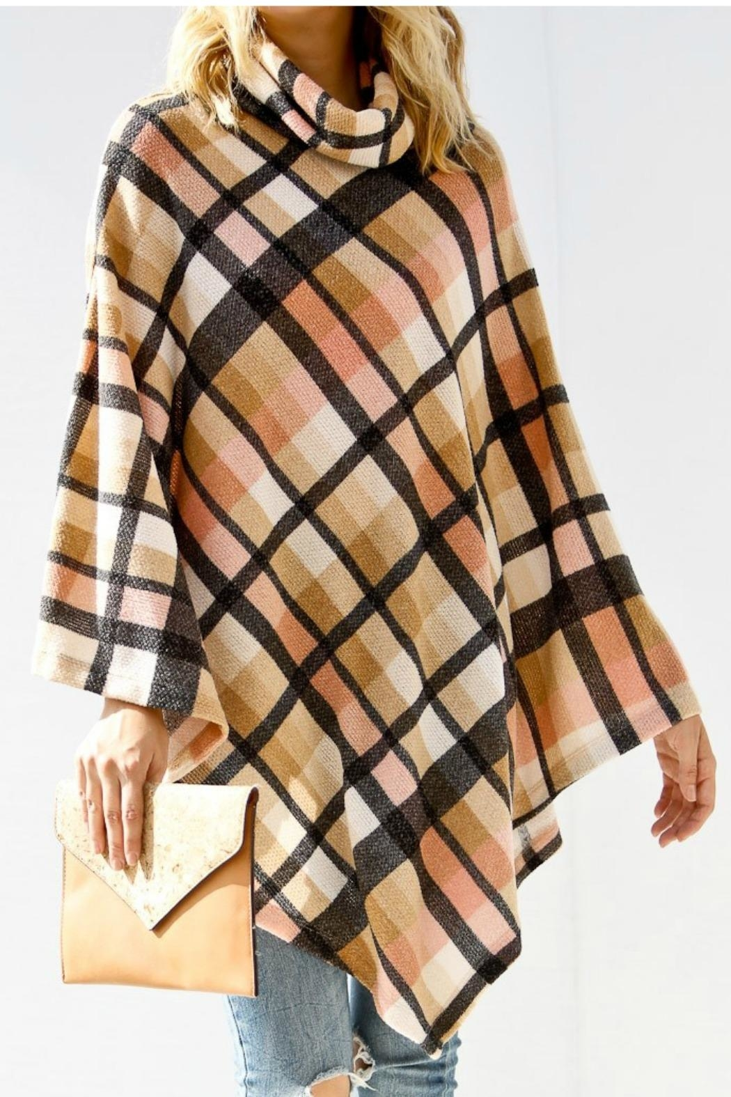 My Story Mockneck Plaid Poncho - Front Cropped Image